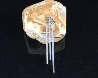 Minimalist Sterling Silver Three Crosses Pendant