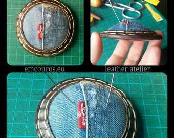 Pincushion. Leather and upcycled jeans