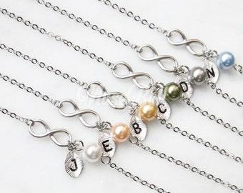 Tiny infinity bracelet, Bridesmaid gift, Personalized bracelet, Initial bracelet, Friendship bracelet, Wedding bracelet, Mother bracelet