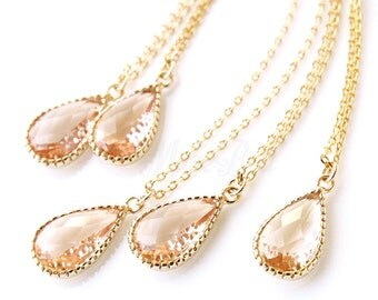 5% OFF, Bridesmaid gifts, Set of 4,5,6, Peach necklace, Peach champagne teardrop necklace, Bridal peach jewelry, Peach wedding jewelry,