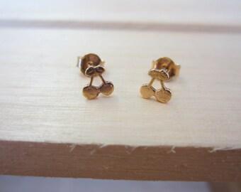Yellow Gold Cherry Earrings, 10k Gold Cherry Earring Studs, Kids Jewellery