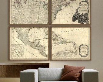 "Historical map of United States 1783 The first map of US after independence up to 72x60"" in 1 or 4 parts - Limited Edition - Print 4"