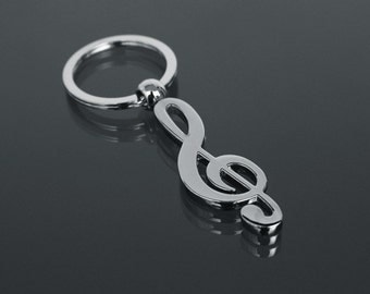 Wedding favor Keychain Keyring treble clef musical notes Gift Idea
