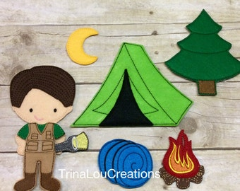 Felt Non Paper Doll, Felt Paper Doll, Travel Toy, Pretend Play, Quiet Time Activity, Unpaper Doll, Felt Board Play, Felt Toys, Camping Set