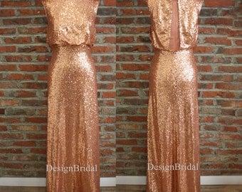 Rose Gold Long Sequin Dress,Bridesmaid Dress Long,Evening Dress 2015,Evening Prom Dress,Round Sequined Dress,Sequin Evening Party Dress