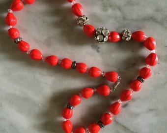 vintage  orange all glass  beads necklace 1960