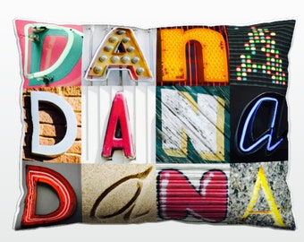 Personalized Pillow featuring DANA in photos of sign letters; Custom couch cushions; Colorful pillows; Photo pillow; Sofa pillows