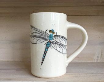 Handmade Dragonfly Cylinder Earthenware Mug
