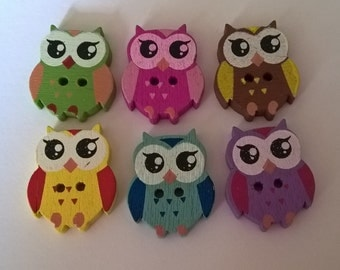 20 Mixed Wooden Owl Buttons, 22mmx17mm