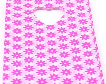 Pink and white flower gift bags favor bags plastic bags 15x9 cc bags 50 count