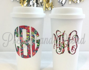 Lilly Pulitzer Inspired Insulated Coffee Tumbler With Monogram