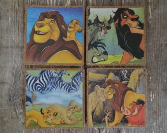 PRICE REDUCED Disney The Lion King Vintage Book Page Cork Coaster Set