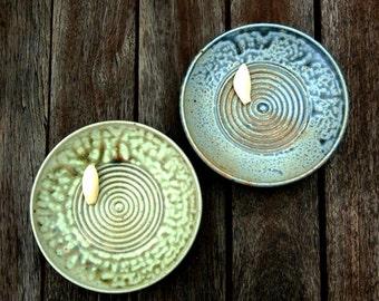 Garlic Grater - Green Bowl - Ginger Grater - Ceramic Dipping Bowl