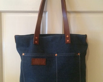 Selvedge Denim and Leather Tote - Handmade