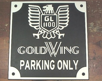 Honda GL1100 classic Goldwing parking only engraved sign man cave garage motorcycle