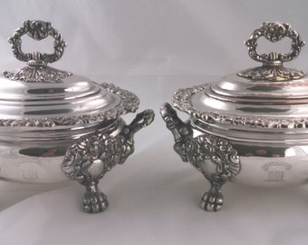 Pair of Regency old Sheffield Plate sauce tureens, Jehovah Jireh crest