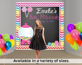 Candy Land Personalized Photo Backdrop - Bat Mitzvah Party Backdrop, Sweet 16th Photo Backdrop, Custom Backdrop, Sweet Candy Backdrop