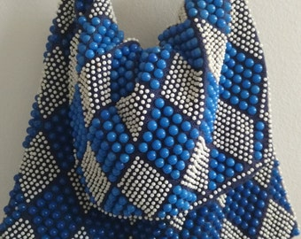 Vintage/ Blue And White Beaded Purse