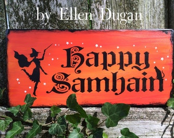 Happy Samhain Sign (Orange)