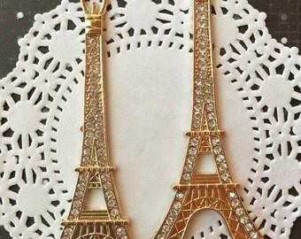 SALE - Gold Eiffel Tower Pendant - Rhinestone Eiffel Tower Alloy Cabochons - 2 pcs