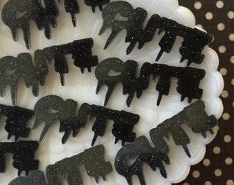 SALE - Drippy Letters Cute Cabochon - Black Creepy CUTE Acrylic Letter Cabochons - Decoden Cabochons