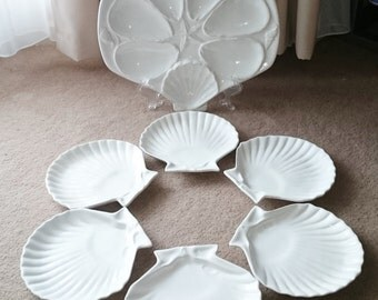 Large Scallop Shell Oyster Ceramic Platter with 6 Scallop Shell Plates - #512c