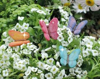 4 miniature butterfly picks, fairy garden butterflies, miniature fairy garden, fairy garden supplies, fairy garden accessories
