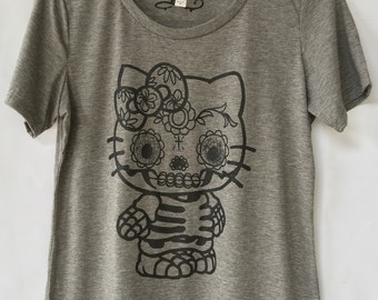 Kitty Day Of The Dead Skull T-shirt - Women Skull Cat T-shirt. Calavera Gato Women T-shirt. Gift Friendly.