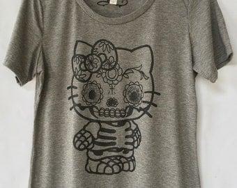 Kitty Day Of The Dead Skull T-shirt - Women Skull Cat T-shirt. Calavera Gato Women T-shirt. Gift Friendly.