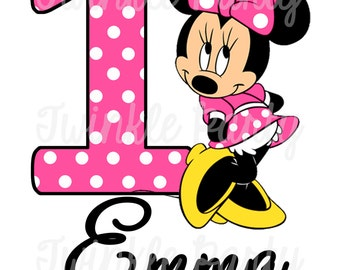 Personalized Minnie Mouse Digital Image for T shirt, Printable Iron On Transfer, Sticker custom Birthday Shirt image