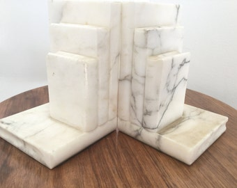 Vintage Italian Alabaster Book Bookends Neo Classical