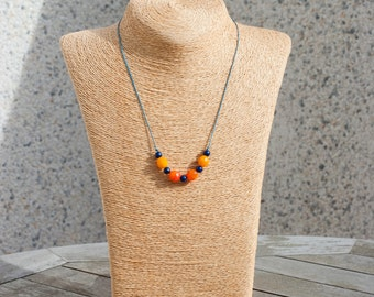 Orange and blue necklace. Czech glass and wood.