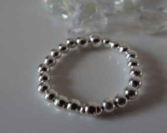 sterling silver beaded ring 925 stretch ring