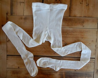 Soviet Vintage Pantyhose Kids Cotton Pantyhose White Tights New Old Stock Unused  Made in USSR  in 1980 s for 150 cm tall child