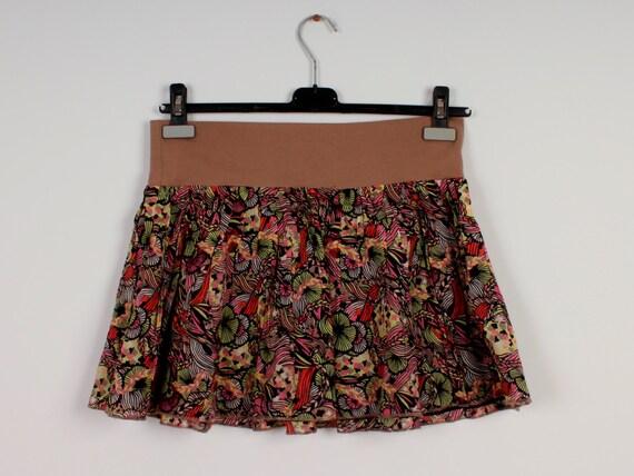 midi cotton skirts floral print colorful skirts knee length