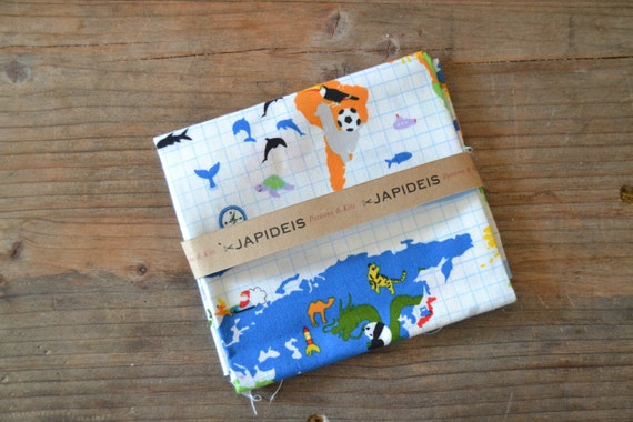 Fabric fat quarter 50 x 55 cm of Kokka with world map drawing and animals