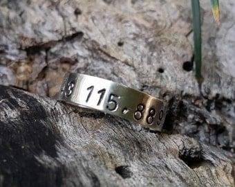 Name ring,custom hand stamped, silver personalized, coordinates ring. Latitude longitude ring.Jewelry for men. Minimal ring.Coordinates ring
