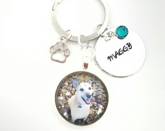 Pet Memorial keychain - personalized keychain with name - pet loss photo keychain - cat memorial - dog memorial - personalized pet keepsake
