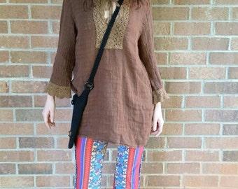 Vintage Top Crochet Hippie Style Baggy Tunic Cute Womens Blouse