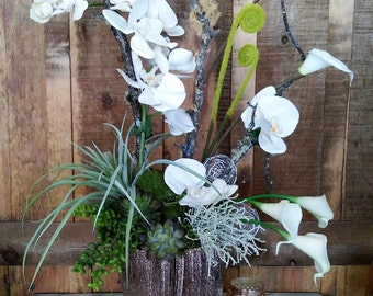 Faux Orchid, Succulent, And Calla Lily Floral Arrangement- Artificial Flower Arrangement