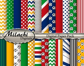 70% OFF SALE World Cup Brazil 2014 Digital Paper Pack, Scrapbook Papers, Commercial Use - Instant Download - M128