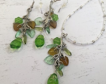 Spring Leaves necklace & earrings, glass beaded jewelry set, delicate accessories, OOAK