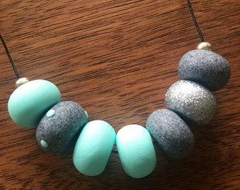 Mint and Granite Grey Clay Necklace