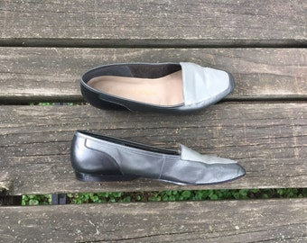 Shoes - Size 6.5 Flats Leather Silver and Grey Loafers Enzo Angiolini Womens 6 1/2