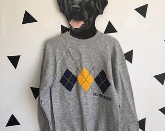 Vintage Small Cal Berkeley Argyle Print Heather Grey Thin Sweatshirt