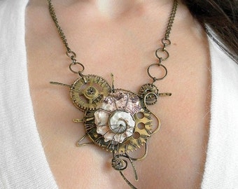 "Necklace ""Evolution""- steampunk, Wire wrap jewelry, steampunk jewelry, necklace steampunk, jewelry steampunk."