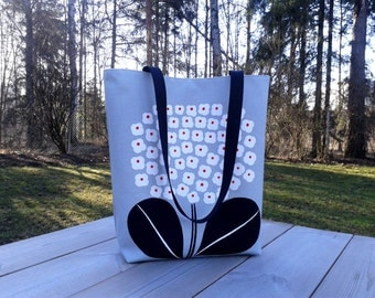 Modern canvas tote bag made from Marimekko fabric, handbag purse, everyday shoulder bag, grey summer tote, Scandinavian flower weekend bag