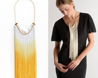 Yellow Ombre Long Fringe Necklace, Statement Necklace, Bohemian Fringe Necklace, Ombre Fringe Necklace