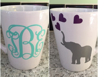 Personalized elephant coffee cup | Elephant and hearts coffee mug | Monogrammed elephant cup | Personalized cup