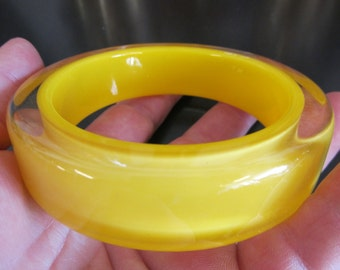 Funky Yellow and Clear Resin Bangle Bracelet